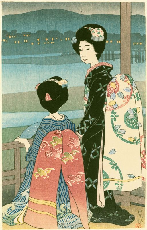 Hasui Kawase Pre-Earthquake Woodblock Print - Dancing Girls 1919 Rare