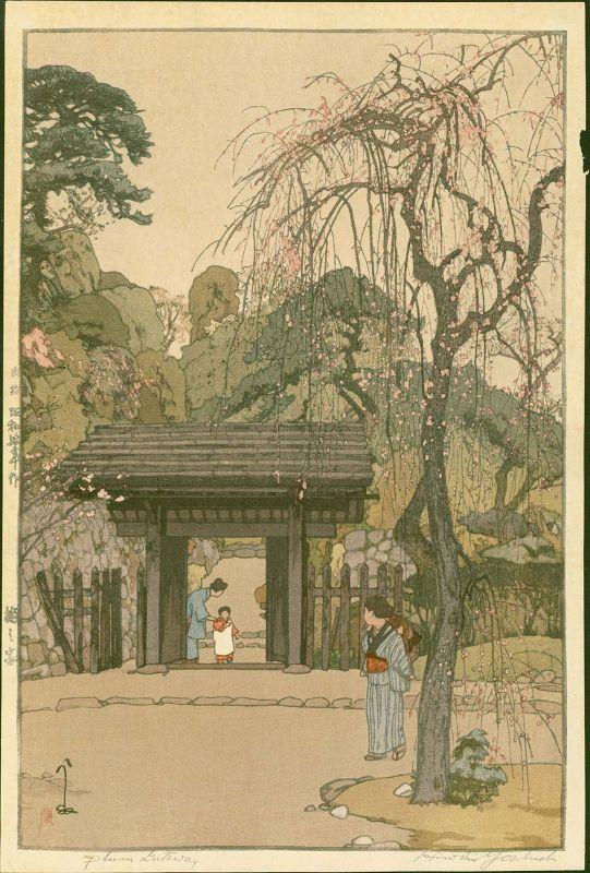 Hiroshi Yoshida Japanese Woodblock Print - Plum Gateway - Jizuri