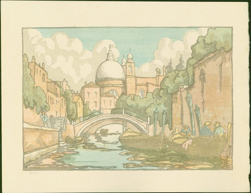 Andrew Kay Womrath Woodblock Print - Canal Scene, Venice SOLD