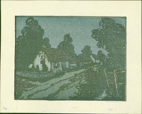 Andrew Kay Womrath Woodblock Print - Cottage and Lane at Night
