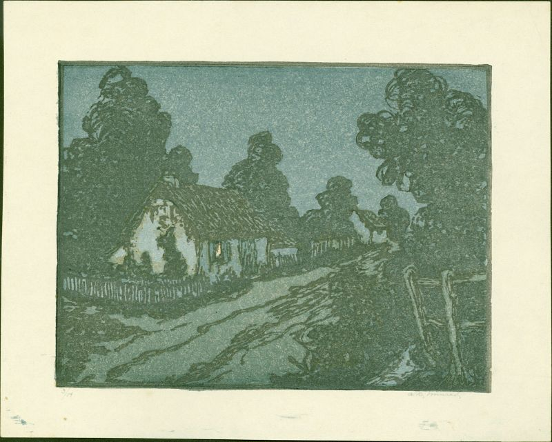 Andrew Kay Womrath Woodblock Print -Cottage and Lane at Night SOLD