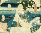 Utagawa Fusatane Japanese Woodblock Print - Evening Moon