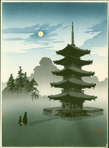 Eijiro Japanese Woodblock Print - Pagoda by Moonlight - Hasegawa Night