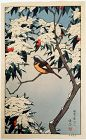 Toshi Yoshida Japanese Woodblock Print - Birds in Winter - Snow