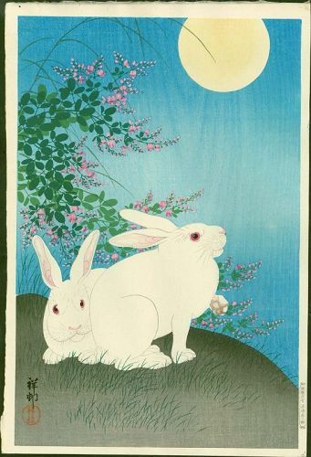 Ohara Koson Japanese Woodblock Print - Rabbits and Moon - 1st edition