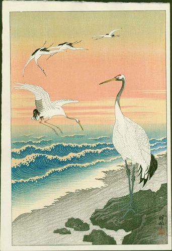 Ohara Shoson (Koson) Woodblock Print - Cranes on Seashore -1st edition