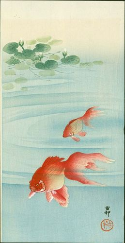 Ohara Koson Japanese Woodblock Print - Two Goldfish and Lotus Plants