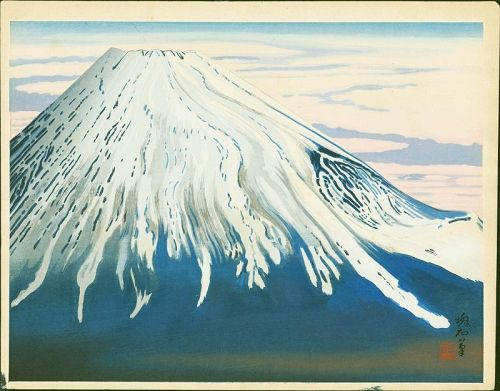 Jokata Kaiseki Japanese  Woodblock Print - Snow-Capped Mt. Fuji - Rare
