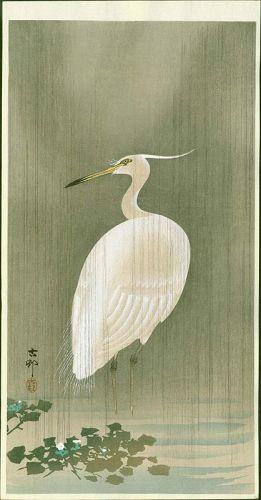 Ohara Koson Japanese Woodblock Print - Wading Egret in Rain