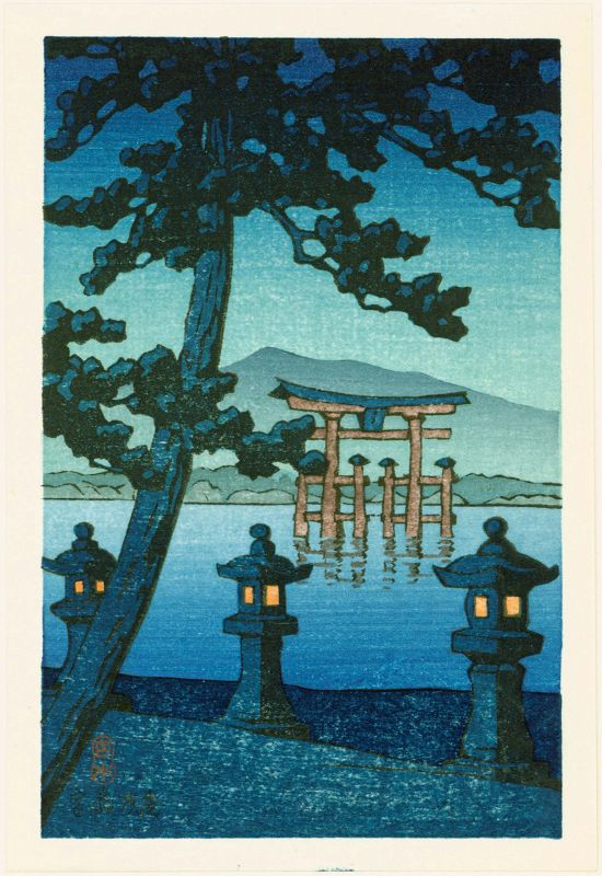 Kawase Hasui Japanese Woodblock Print - Evening at Miyajima SOLD