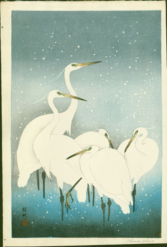 Ohara Shoson (Koson) Japanese Woodblock Print - Egrets On Snowy Night