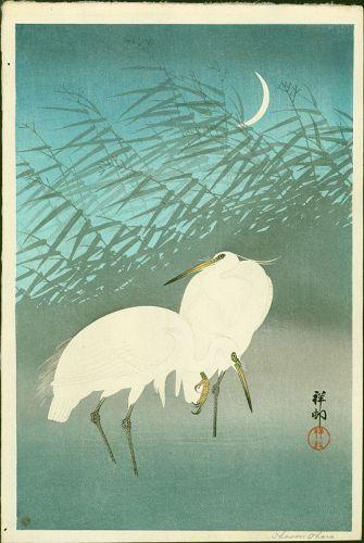 Ohara Shoson (Koson) Japanese Woodblock Print - Egrets - Crescent Moon