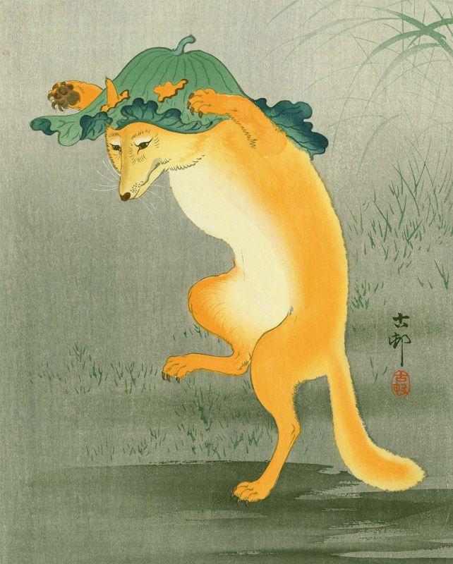 Ohara Koson Japanese Woodblock Print - Dancing Fox SOLD