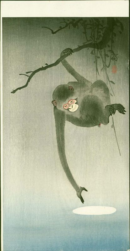 Ohara Koson Japanese Woodblock Print - Monkey Reaching for the Moon