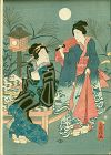 Utagawa Fusatane Woodblock Print - Two Geisha and Moon - 1861 SOLD