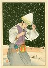 Paul Jacoulet Japanese Woodblock Print - Nuit de Neige, Korea