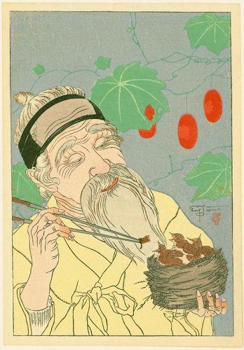 Paul Jacoulet Japanese Woodblock Print Le Nid, Coree -The Nest, Korea