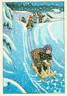 Ishiwata Koitsu Japanese Woodblock Print - Sledding SOLD