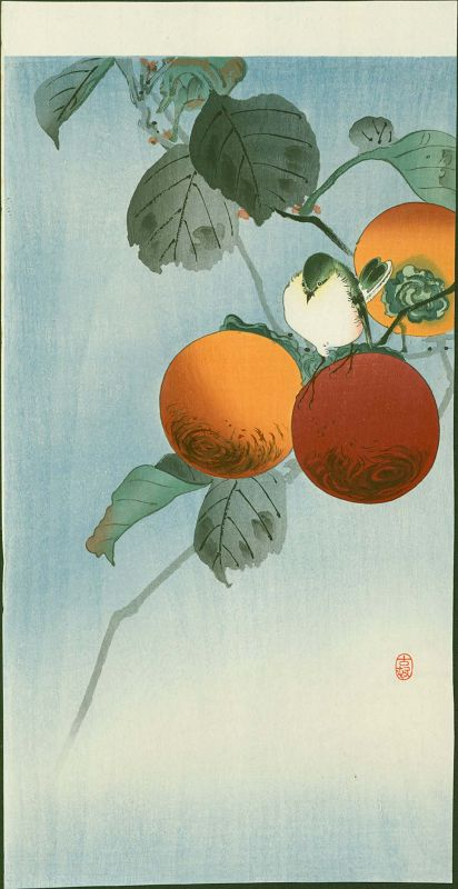 Ohara Koson Japanese Woodblock Print - Nuthatcher Atop Persimmon SOLD