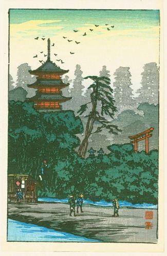 Takahashi Shotei Japanese Woodblock Print - Shrine by the River