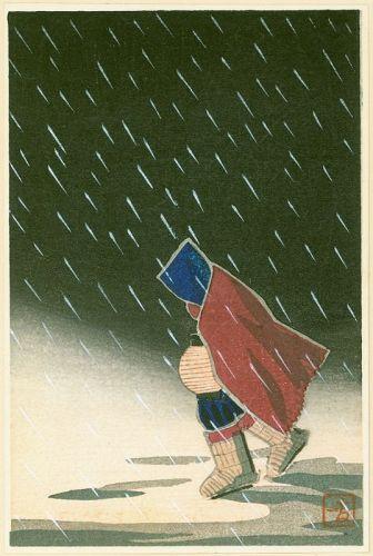 Kikuchi Yuichi Japanese Woodblock Print - Walking in Snow SOLD