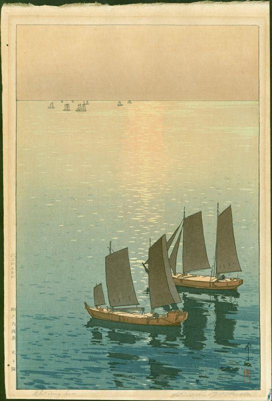 Hiroshi Yoshida Japanese Woodblock Print - Glittering Sea  SOLD