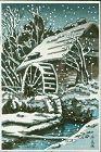 Ishiwata Koitsu Japanese Woodblock Print - Waterwheel in Snow