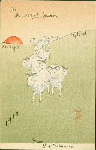 Goats at Sunset Japanese Woodblock Print - Shimbi Shoin Postcard Rare