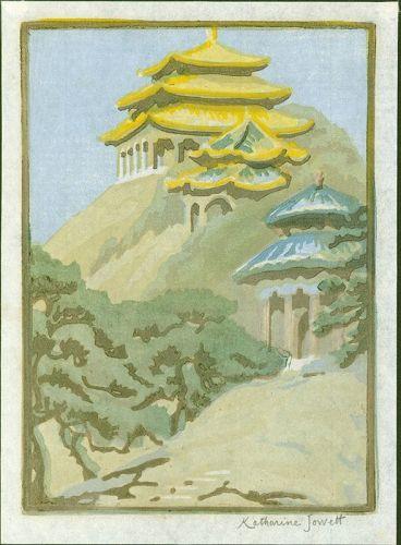 Katharine Jowett Woodblock Print - Coal Hill, Peking