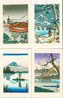 Tsuchiya Koitsu Miniature Japanese Woodblock Print - Set of 4