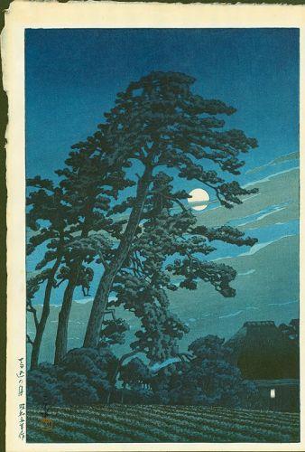 Kawase Hasui Japanese Woodblock Print - Moon at Magome