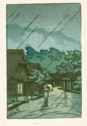 Kawase Hasui Japanese Woodblock Print - Kawaguchi - Village in Rain