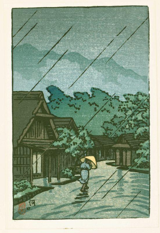 Kawase Hasui Woodblock Print - Kawaguchi - Village in Rain SOLD