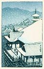 Bird's-eye View of Kiyomizu Temple in Snow - SOLD