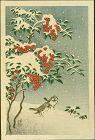 Ohara Koson (Shoson) Japanese Woodblock Print - Sparrows and Nandin