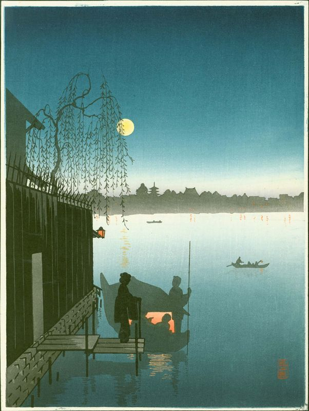 Eijiro Woodblock Print -Evening Cool Sumida - Hasegawa Night SOLD