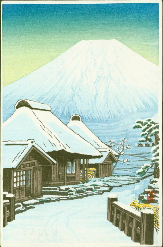 Shien Japanese Woodblock Print - Mount Fuji with Snowy Village