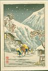 Takahashi Shotei Pre-Earthquake Woodblock Print - Packhorse in Snow