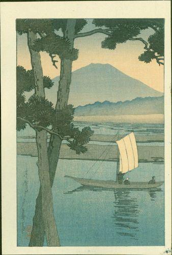 Kawase Hasui Japanese Woodblock Print - Mt. Fuji With Sailboat - 1930s
