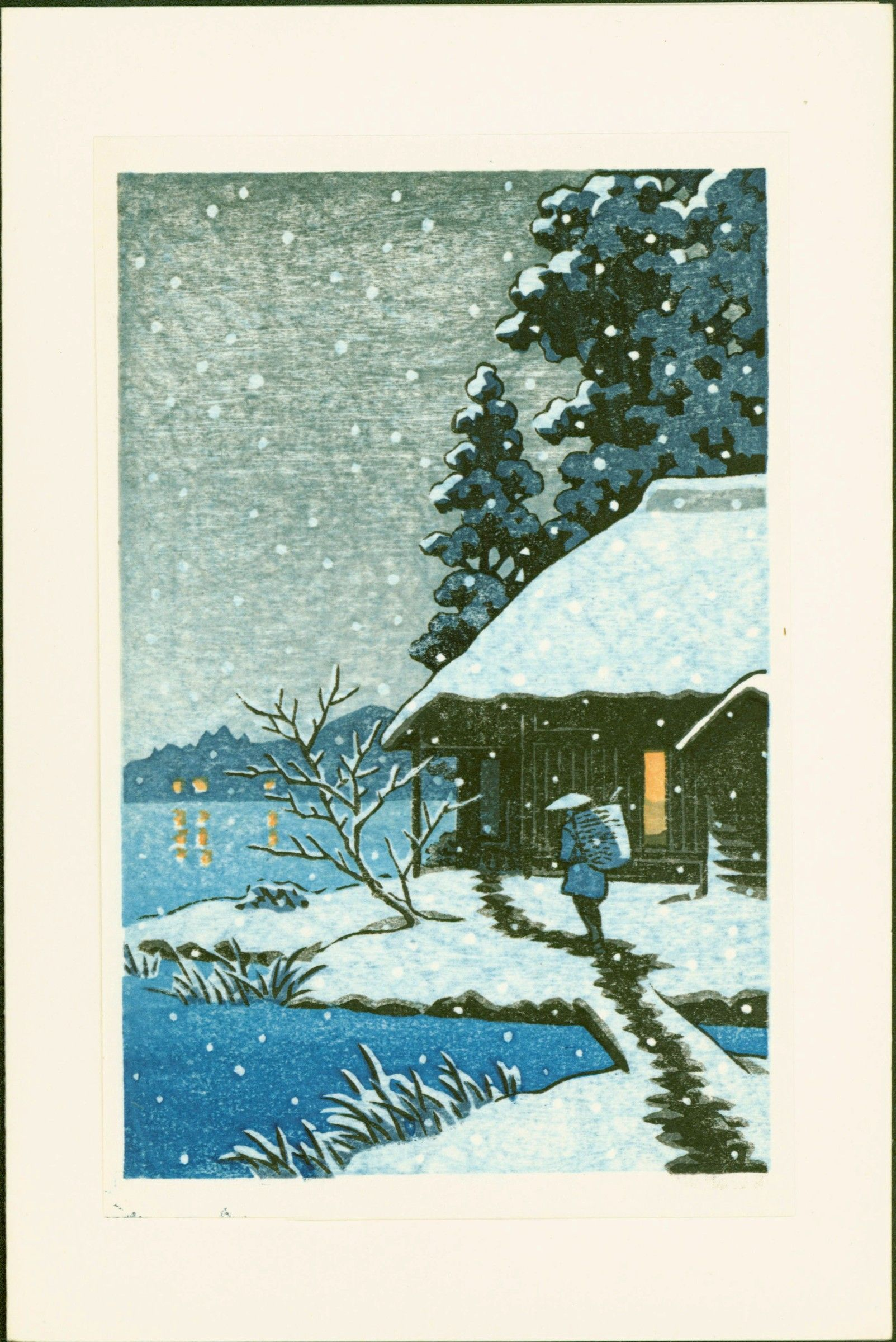 Japanese Woodblock Print - Snowy House with Walking Figure
