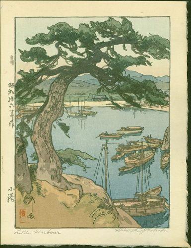 Hiroshi Yoshida Japanese Woodblock Print Little Harbour - Jizuri