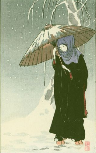 Ito Sozan Japanese Woodblock Print - Lady in Black - Umbrella in Snow
