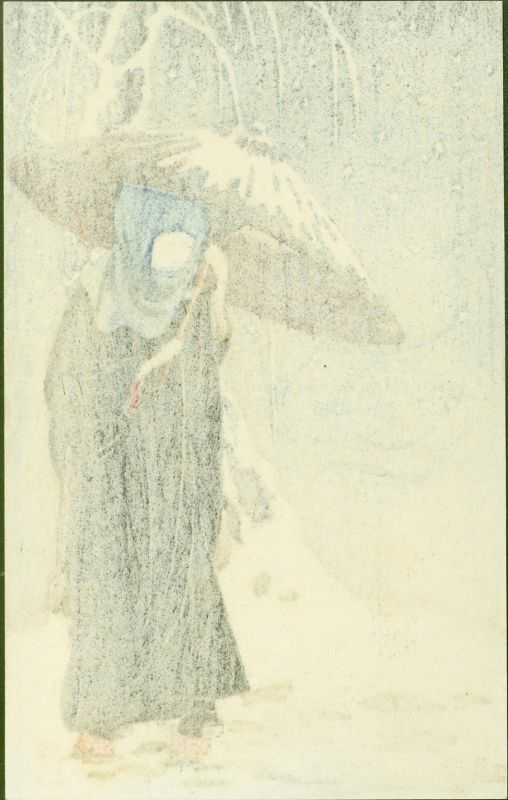 Ito Sozan Woodblock Print - Lady in Black - Umbrella in Snow SOLD