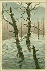 Kikuchi Yuichi (Tomokazu) Woodblock Print - Taisho Pond RARE SOLD (L)