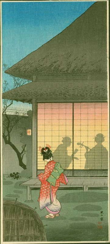 Takahashi Shotei Japanese Woodblock Print - Teahouse in the Night