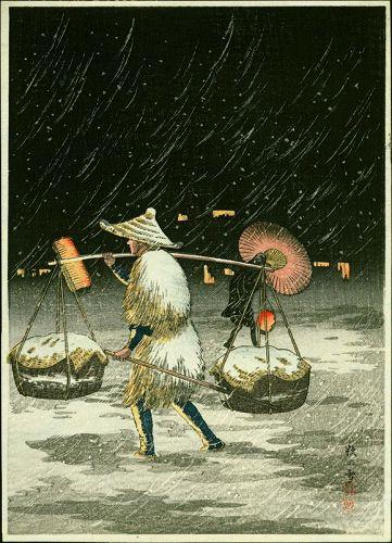Takahashi Shotei Japanese Woodblock Print - Peddler in the Snowy Night