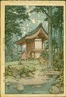 Hiroshi Yoshida Japanese Woodblock Print - Temple in the Wood - Jizuri