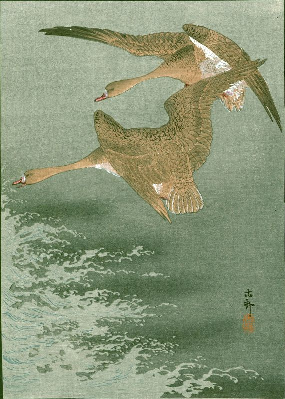 Ohara Koson Japanese Woodblock Print - Wild Geese Over The Sea 1910