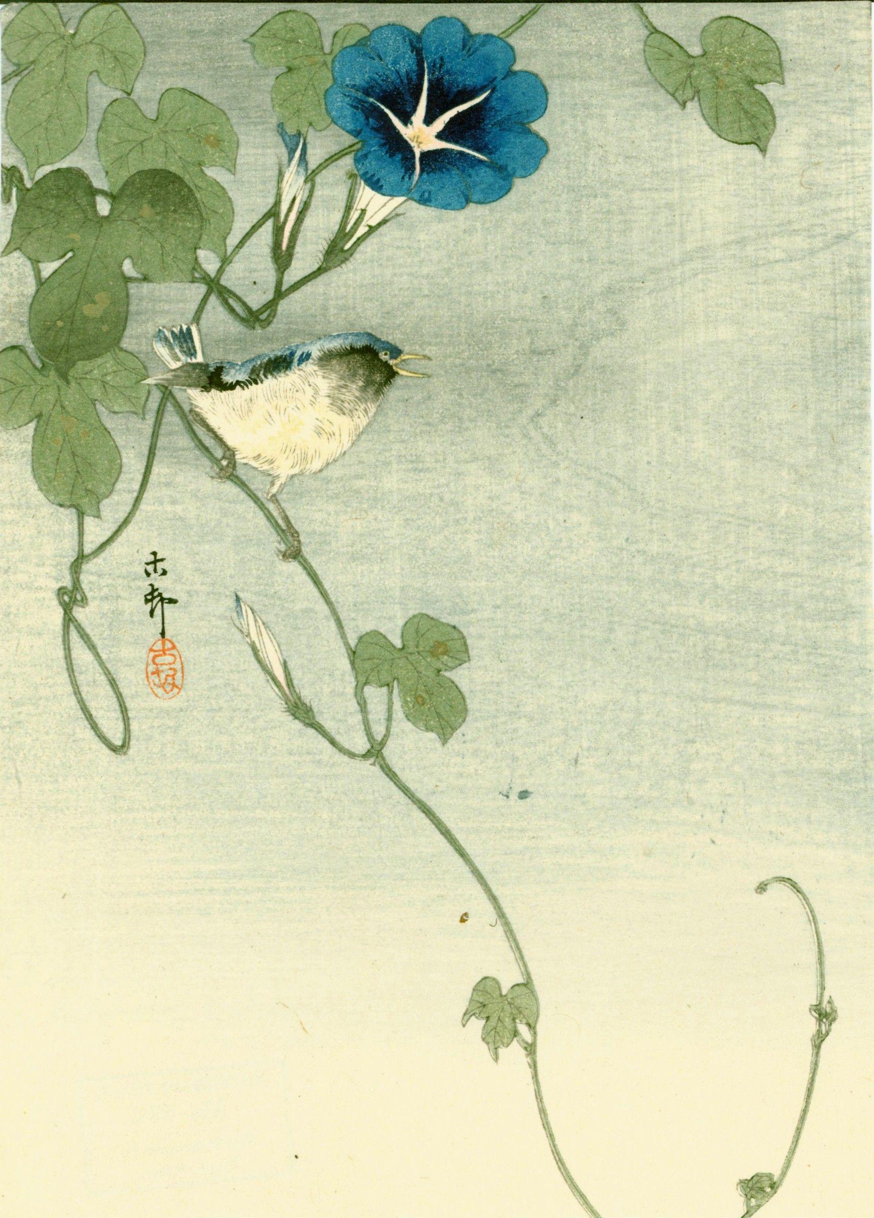 Ohara Koson Woodblock Print  - Bird and Morning Glory 1910 SOLD