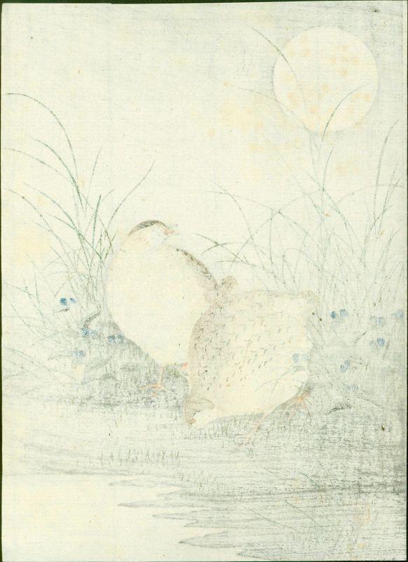 Ohara Koson Japanese Woodblock Print -Quails in Moonlight 1910 SOLD